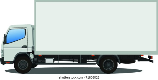 A white commercial truck. Ad your own text.