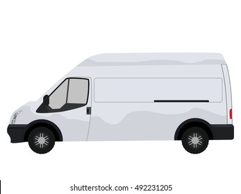 White Commercial Vehicle - Van. Delivery Van Template - Layout for presentation. White blank commercial vehicle - delivery van. No simple gradients . No gradient mesh. Flat design
