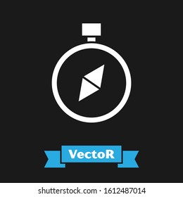 White Compass icon isolated on black background. Windrose navigation symbol. Wind rose sign.  Vector Illustration