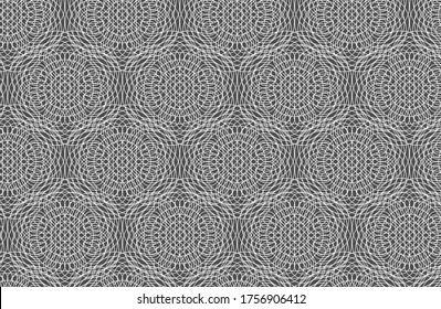 White complex geometric outline of interconnecting lines and circles makes an intricate repeating pattern on a gray background, vector illustration