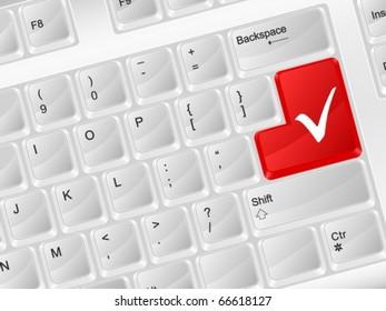 White computer keyboard check symbol. Vector illustration.