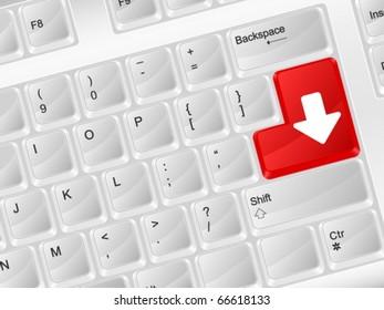 White computer keyboard download. Vector illustration.