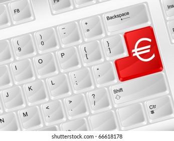 White computer keyboard euro symbol. Vector illustration.