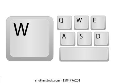 White computer keys. Eps10 vector illustration.