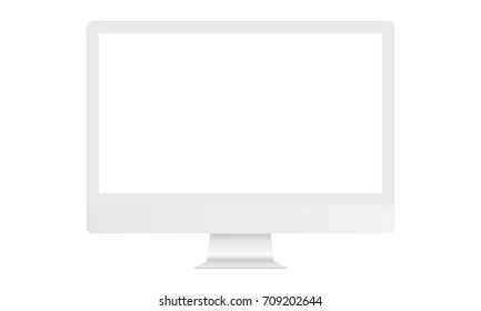 White computer monitor iMac mockup with blank screen - front view. Vector illustration