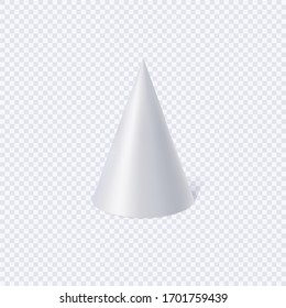 White cone isolated on transparent background. Vector Illustration.