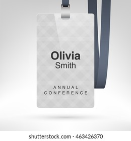 White conference badge with name tag placeholder. Blank badge template in plastic holder with black lanyard. Vector illustration. Vertical layout.