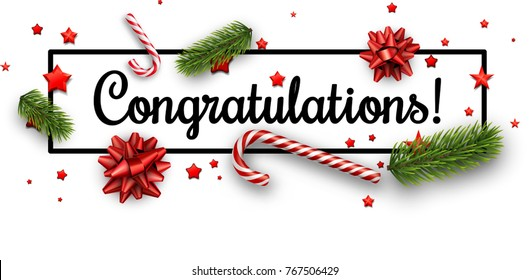 White congratulations Christmas banner with candy, fir branches and bows. Vector paper illustration.