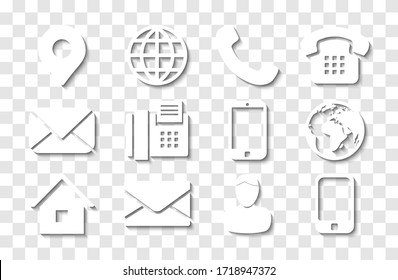 White Contact Info Icon Set with Shadows for Location Pin, Phone, Fax, Cellphone, Person and Email Icons.