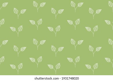 white contour small twigs with leaves on a green background vector seamless pattern