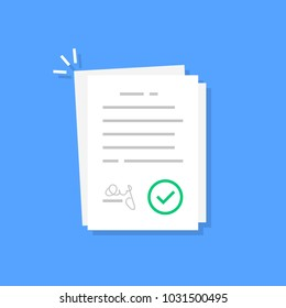 white contract document like treaty. flat cartoon smart trend modern company statement or v logotype graphic design isolated on blue background. concept of announcement card or request to summary