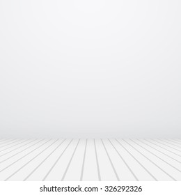 White copyspace. Gray wall and floor.