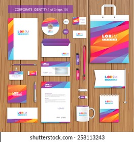 White corporate id template design with violet, yellow, pink abstract elements. Documentation for business. Eps 10
