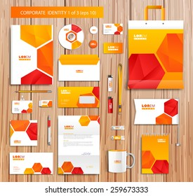 White corporate id template design with orange, red, yellow abstract elements. Documentation for business. Eps 10