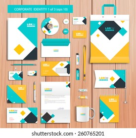 White corporate id template design with blue, yellow abstract elements. Documentation for business. Eps 10