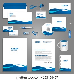 White corporate identity template with blue waves. Vector company style for brandbook and guideline. EPS 10