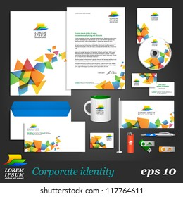 White corporate identity template with color elements on background. Vector company style for brandbook and guideline. EPS 10