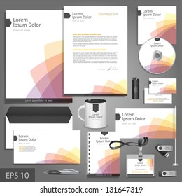 White corporate identity template with color elements. Vector company style for brandbook and guideline. EPS 10