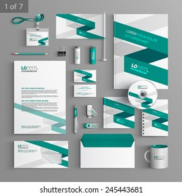 White corporate identity template design with green stripe. Business stationery