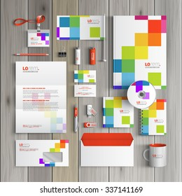 White corporate identity template design with color square pattern. Business stationery