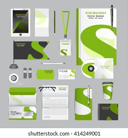 White corporate identity template with Orange origami elements. Vector company style for brandbook guideline and Pens mugs CDs books business cards letterhead flag Card Portfolio Tablet flash drive