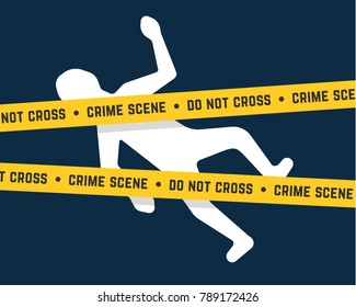 white corpse like crime scene. concept of do not cross yellow tape at crime scene place or arrest the killers or suicide body. flat cartoon simple trend modern graphic design isolated on background
