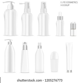 White cosmetic bottles packaging mockup set. Vector illustration of elite cosmetics: bottles with spray, dispenser and dropper, cream tube, deodorant roll. High quality template ready for your design.