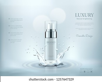 White cosmetic bottles with water splashing background, ready for your design, vector illustration.