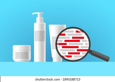 White cosmetic jar, bottle and tube, review of ingredients of cosmetic product using magnifier. Red blocks are indicating dangerous harmful ingredients in composition of beauty or care product