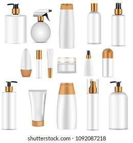 White cosmetics bottle set whith gold top. Realistic 3d mock-up of cosmetics package. Vector illustration of spray, dispenser and dropper, cream jar, shampoo, lotion, soap, toothpaste.