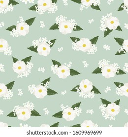 white cosmos flower on green background seamless pattern