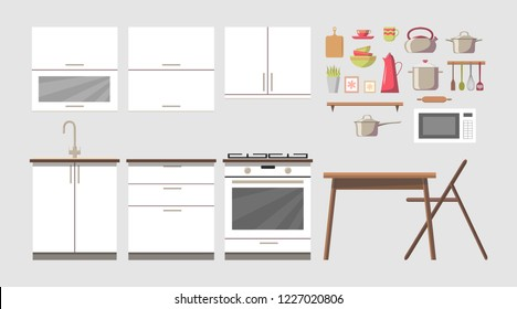 White cosy kitchen interior constructor clip art set with furniture and stove, cupboards, dishes - kettle, pan, bowls, mugs, microwave oven, utensils, table, chair. Modern flat style vector, isolated