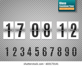 White Countdown timer with white numbers isolated on transparent background. Clock counter. Vector template