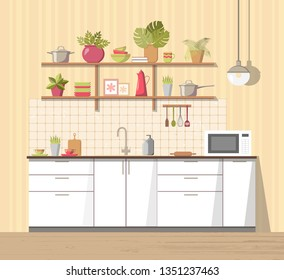 White cozy kitchen interior with furniture, sink, lamp and microwave oven, big shelf with different plant, dishes - teapot, pan, bowls, mugs, utensils. Modern flat style vector, isolated.