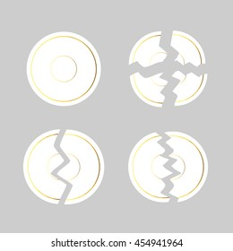 White crashed and broken in two or four pieces plates with golden edging isolated on grey background. Vector illustration