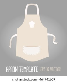 white cream apron kitchenware illustration template with white icon on the chest and pocket on the front with grey background