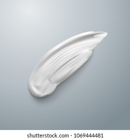 White cream element mockup. Realistic cosmetic concealer brush stroke isolated. Cream smear. Stock Vector illustration EPS10. Top view
