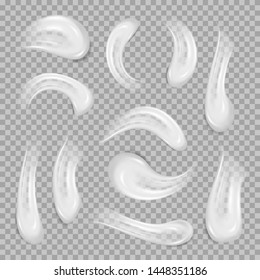 White cream elements. Realistic white cosmetic gel, creamy toothpaste blobs smears. Skinkare lotion set. Element for advertising isolated on plaid white background. Vector illustration for your design