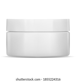 White cream jar. Plastic cosmetic container, vector mockup. Face skin care creme package, front view. Round clear glossy makeup pot for cover or logo. Isolated powder pack mockup