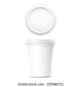 White cream pot template with transparent cap on white background. Packaging collection.