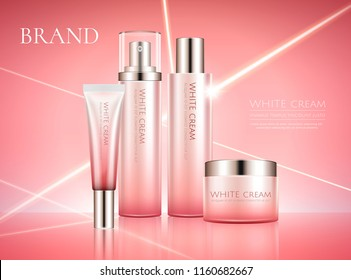 White cream product set in pink tone with light rays background in 3d illustration