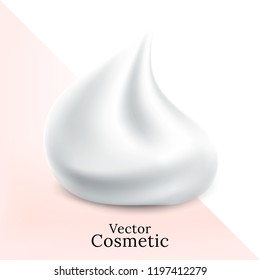 White creamy foam for beauty concept. Realistic Vector.