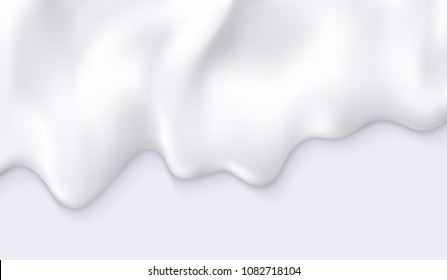 White creamy milk drips. Vector realistic illustration. Cosmetics product or food industry background. Cream yogurt, melting ice cream, or other diary product flowing decorative element