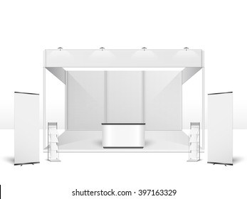 White creative exhibition stand design. Booth template. Corporate identity vector