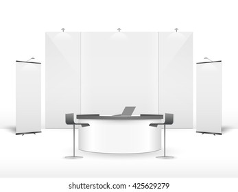 White creative exhibition stand design. Booth template. Corporate identity vector.