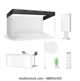White creative exhibition stand design. Booth template set. Corporate identity vector.