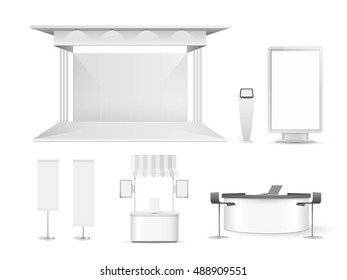 White creative exhibition stand design. Booth set template. Corporate identity vector.