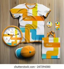 White creative promotional souvenirs design for corporate identity with blue and orange art elements. Stationery set