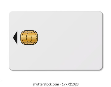 White credit card with chip isolated on white background