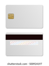 White credit card template isolated on white. Vector EPS10 illustration.